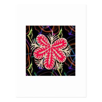 ROTE Blume Custume Schablone ADDIEREN Textbewegung Postkarte