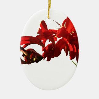 Rote Blume Keramik Ornament