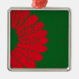rote Blume Silbernes Ornament