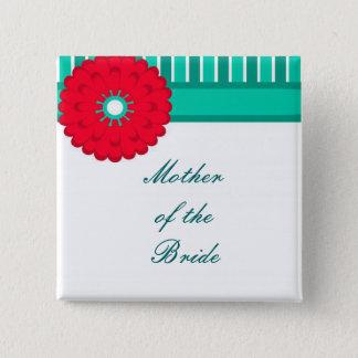 Rote Blume und aquamarin Quadratischer Button 5,1 Cm