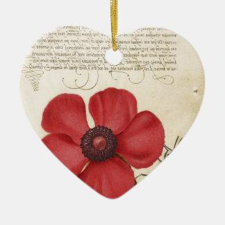 Rote Blume und Schnecke Keramik Ornament