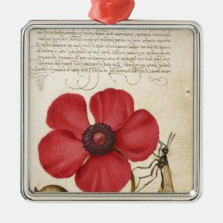 Rote Blume und Schnecke Silbernes Ornament