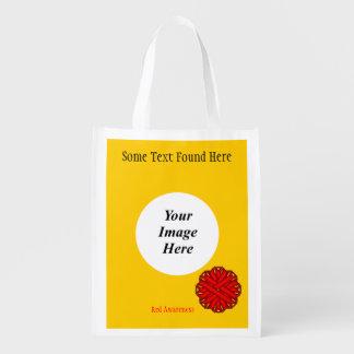 Rote Blumen-Band-Schablone Wiederverwendbare Einkaufstasche