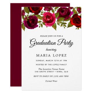 Rote Blumen-elegantes Abschluss-Party Burgunders Karte
