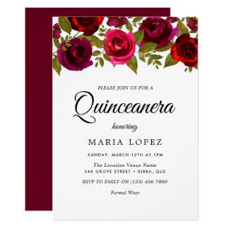 Rote Blumen elegantes Quinceanera Burgunders laden Karte