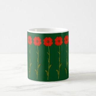 Rote Blumen entwerfen - Mohnblumen - grünen Kaffeetasse
