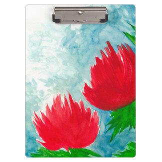 Rote Blumen Klemmbrett