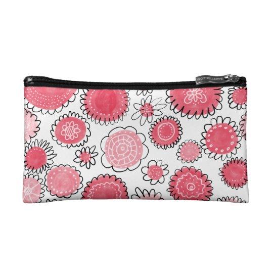 Rote Blumen Makeup-Tasche