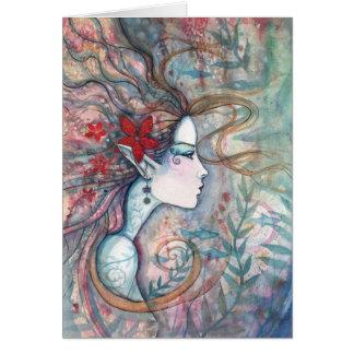 Rote Blumen-Meerjungfrau-Karte durch Molly Karte