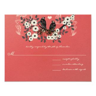 Rote Blumen-Niederlassungs-Vintage Liebe-Vögel, Karte