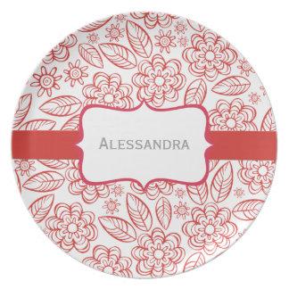 rote Blumen u. Blätter auf Weiß mit Aufkleber Teller