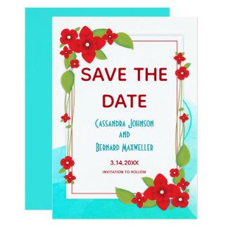 Rote Blumen- und blaue Hochzeit | Save the Date Karte