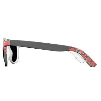 Rote Blumen- und schwarze Aussagen-Sonnenbrille Brille
