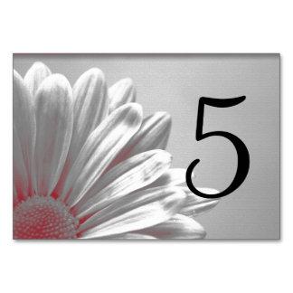 Rote Blumenhöhepunkt-Tischnummern Karte