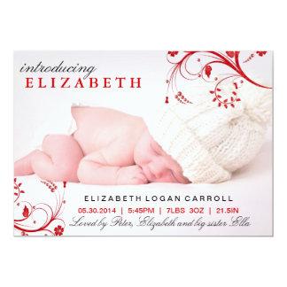 Rote Blumenstrudel-Geburts-Mitteilung 12,7 X 17,8 Cm Einladungskarte