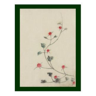 Rote Blüten auf Rebe Hokusai Japaner-schöner Kunst Postkarte