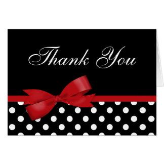 Rote Bogen-Schwarz-Tupfen danken Ihnen Karte