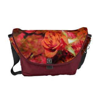 rote Bordeauxrosagelb Rosen-Liebe-Bote-Tasche Kurier Taschen