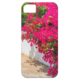 Rote Bougainville-Blumen, die auf weißem wall.JP Etui Fürs iPhone 5
