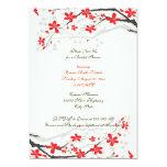 Rote Brautpartyeinladung der Personalisierte Ankündigungskarten