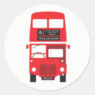Rote Bus-Aufkleber Londons Runder Aufkleber