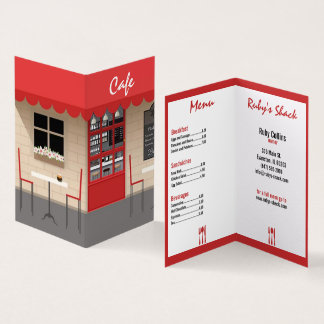 rote Café-Restaurantgewerbekarte Visitenkarten