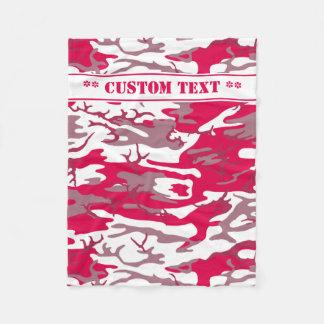 Rote Camouflage mit kundenspezifischem Text Fleecedecke