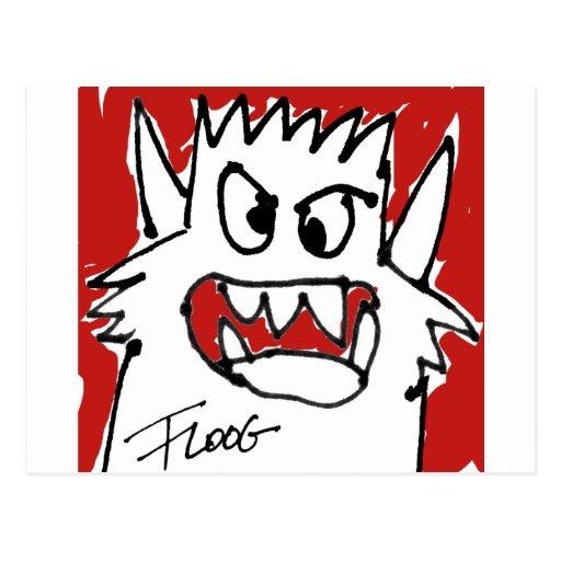Rote Cartoon-Monster-Postkarte