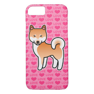 Rote Cartoon Shiba Inu Liebe iPhone 8/7 Hülle