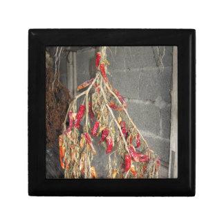 Rote Chili-Paprikaschoten, die hängen, um auf Geschenkbox