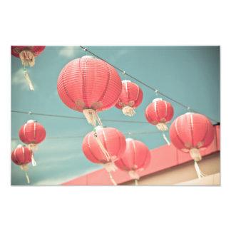 Rote chinesische Papierlaternen Fotodruck