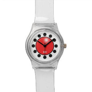 Rote Clownnase kundengerecht mit Initialenuhr Uhr