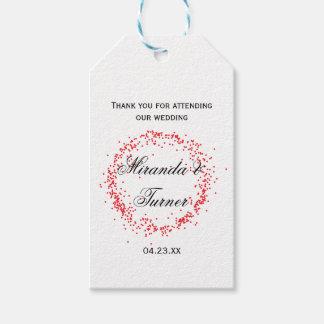 Rote Confetti-Hochzeit danken Ihnen - Geschenkanhänger