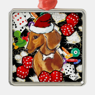 ROTE DACKEL BLING SILBERNES ORNAMENT
