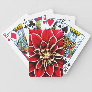 Rote Dahlie-BlumenBlumen-Blumenblatt-Blüten-Garten Bicycle Spielkarten