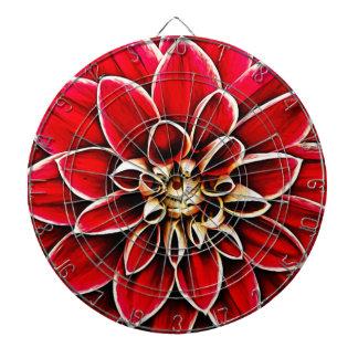 Rote Dahlie-BlumenBlumen-Blumenblatt-Blüten-Garten Dartscheibe