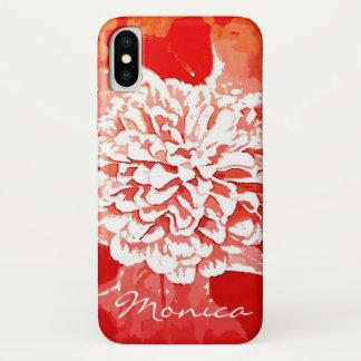 Rote Dahlie-kundengerechter Telefon-Kasten iPhone X Hülle