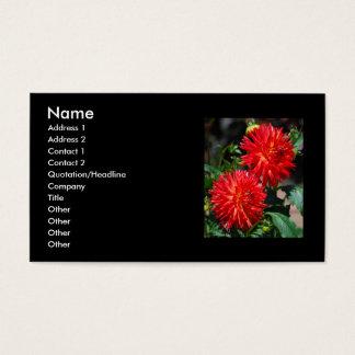 Rote Dahlie-Paar-Visitenkarten Visitenkarte