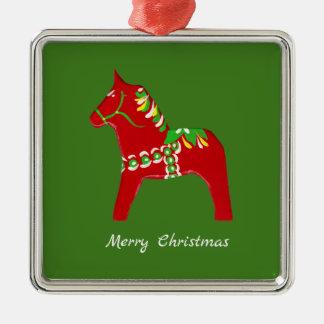 Rote Dala Pferdeverzierung Silbernes Ornament