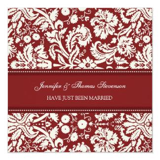 Rote Damast-gerade verheiratete Mitteilungs-Karten Quadratische 13,3 Cm Einladungskarte