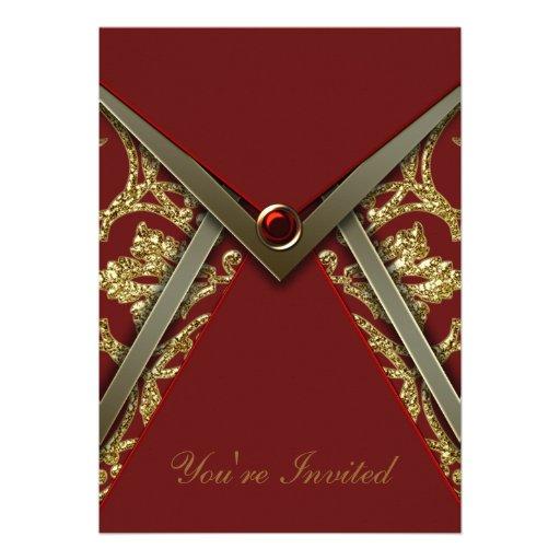 Rote Damast-GoldParty Einladungs-Schablone Individuelle Ankündigungen