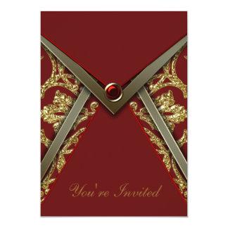 Rote Damast-GoldParty Einladungs-Schablone 12,7 X 17,8 Cm Einladungskarte