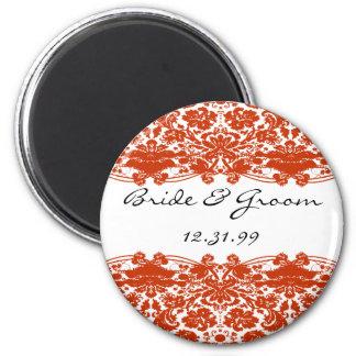 Rote Damast-Hochzeit Runder Magnet 5,7 Cm
