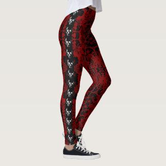 Rote Damast-Schädel Goth Gamaschen Leggings