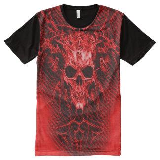 Rote Dämon-Schädel-Fantasie-Kunst T-Shirt Mit Bedruckbarer Vorderseite