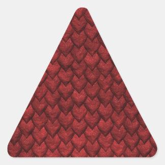 Rote Drache-Haut Dreieckiger Aufkleber