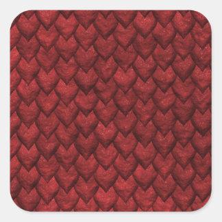 Rote Drache-Haut Quadratischer Aufkleber