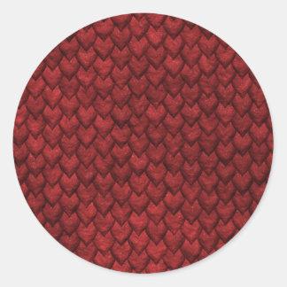 Rote Drache-Haut Runder Aufkleber