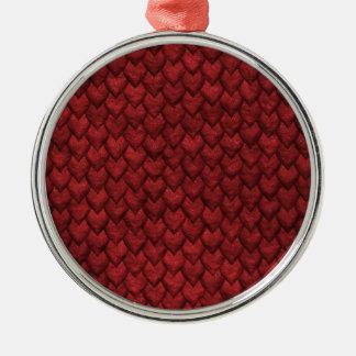 Rote Drache-Haut Silbernes Ornament