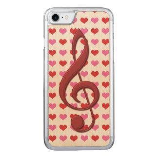 Rote dreifacher Clef-Liebe-Herz-Musik Carved iPhone 8/7 Hülle